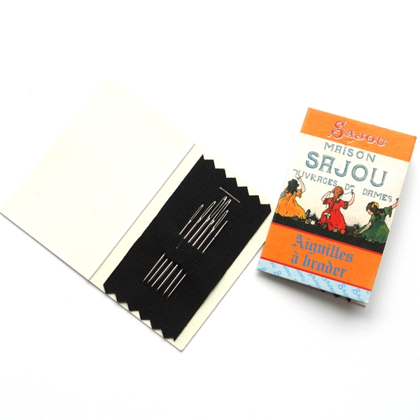 SAJOU French Beading Needles Yellow Booklet Assorted #10 and #12