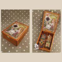 Ballerina Fairy dancer post card wooden Thread keep by Primitive Hare